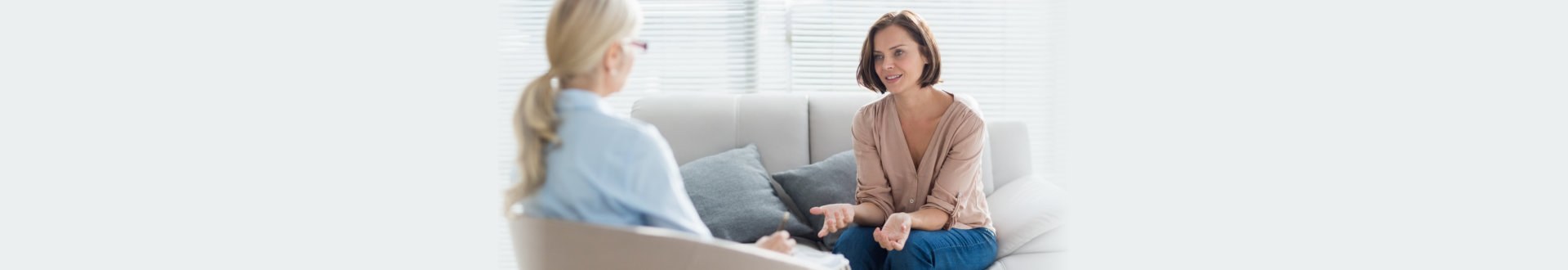 woman talking with therapist